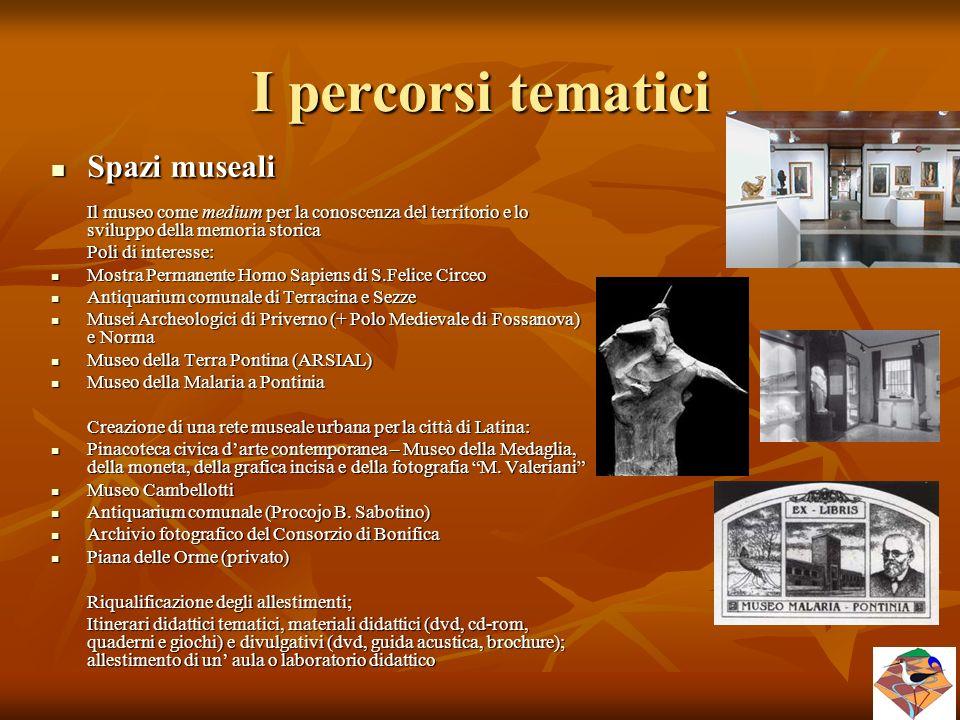 I percorsi tematici Spazi museali Spazi museali Il museo come medium per la conoscenza del territorio e lo sviluppo della memoria storica Poli di inte