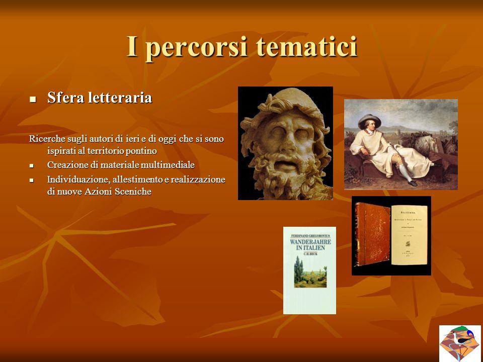 I percorsi tematici Sfera letteraria Sfera letteraria Ricerche sugli autori di ieri e di oggi che si sono ispirati al territorio pontino Creazione di