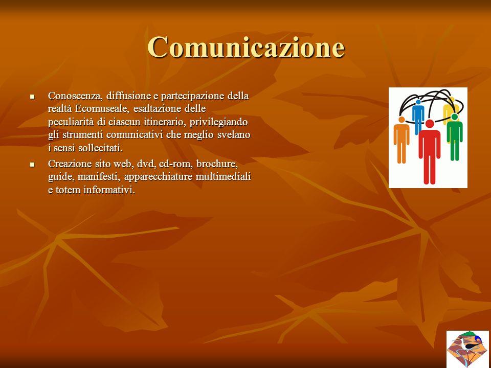 Comunicazione Conoscenza, diffusione e partecipazione della realtà Ecomuseale, esaltazione delle peculiarità di ciascun itinerario, privilegiando gli