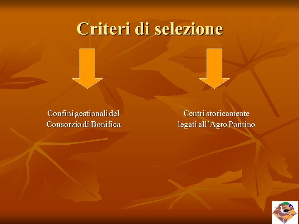 Criteri di selezione Confini gestionali del Consorzio di Bonifica Centri storicamente legati all'Agro Pontino