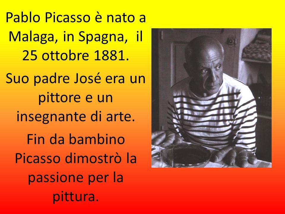 Pablo Picasso è nato a Malaga, in Spagna, il 25 ottobre 1881. Suo padre José era un pittore e un insegnante di arte. Fin da bambino Picasso dimostrò l