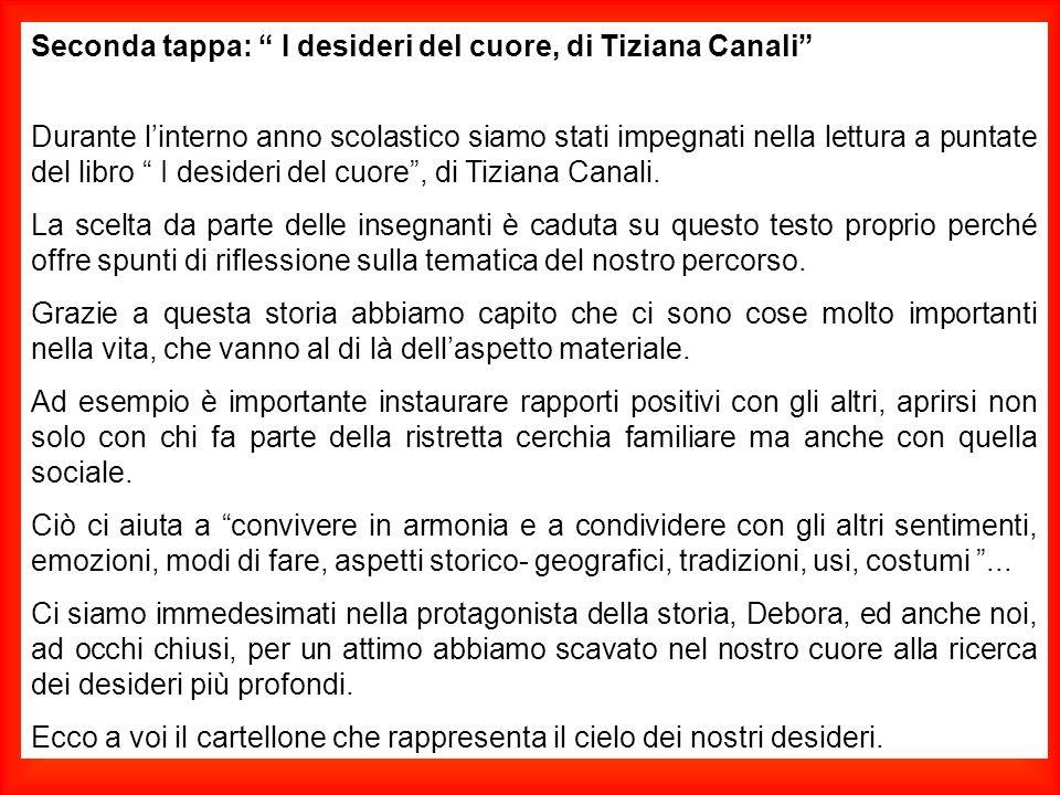 """Seconda tappa: """" I desideri del cuore, di Tiziana Canali"""" Durante l'interno anno scolastico siamo stati impegnati nella lettura a puntate del libro """""""