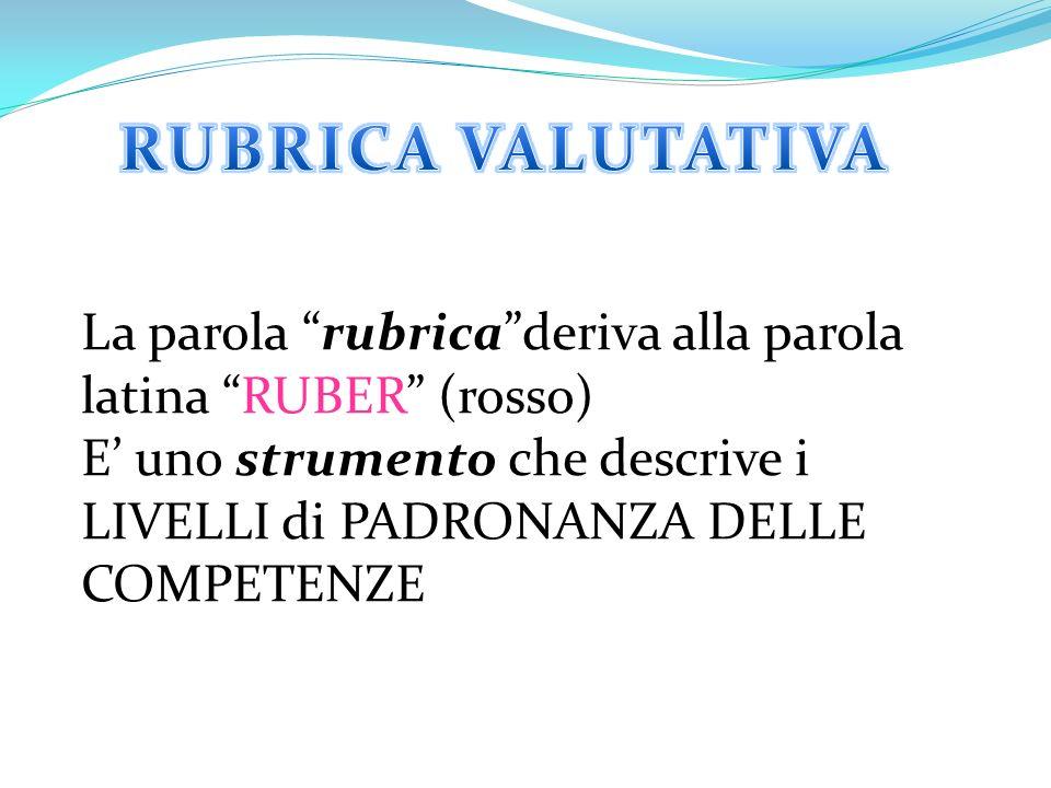 La parola rubrica deriva alla parola latina RUBER (rosso) E' uno strumento che descrive i LIVELLI di PADRONANZA DELLE COMPETENZE