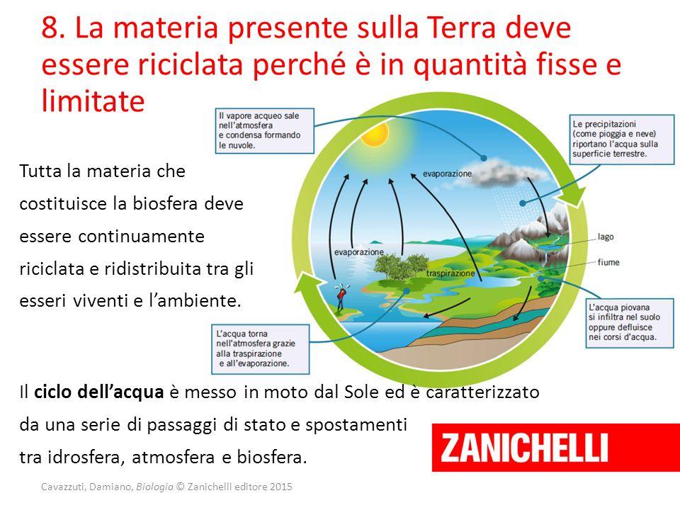 8. La materia presente sulla Terra deve essere riciclata perché è in quantità fisse e limitate Tutta la materia che costituisce la biosfera deve esser