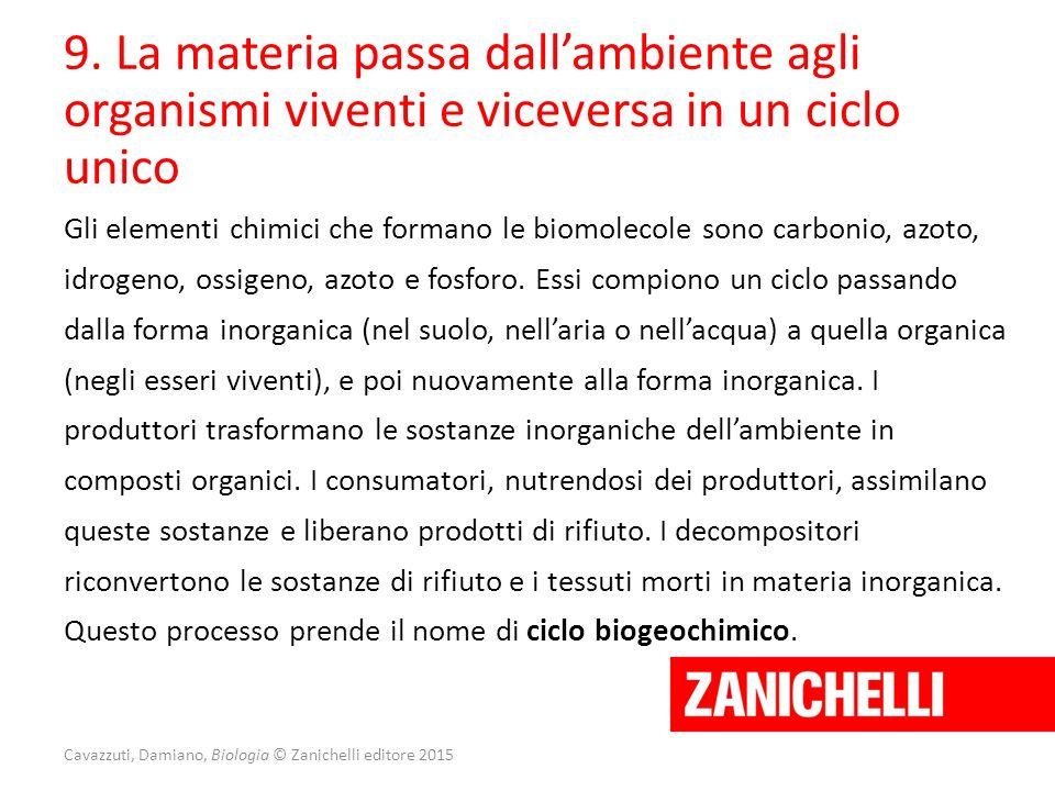 Cavazzuti, Damiano, Biologia © Zanichelli editore 2015 9. La materia passa dall'ambiente agli organismi viventi e viceversa in un ciclo unico Gli elem