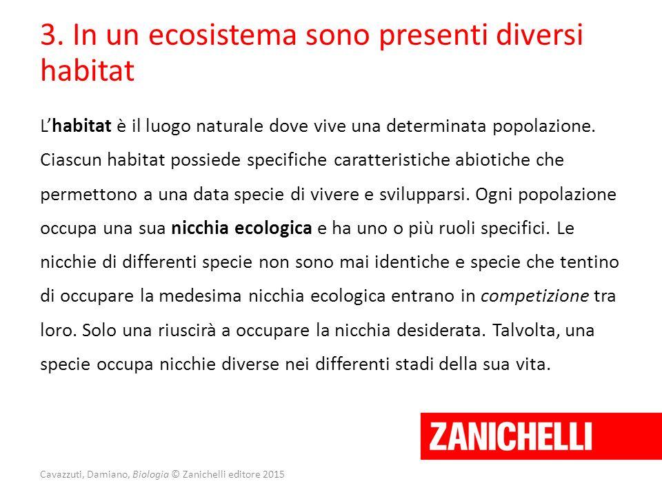 Cavazzuti, Damiano, Biologia © Zanichelli editore 2015 3. In un ecosistema sono presenti diversi habitat L'habitat è il luogo naturale dove vive una d