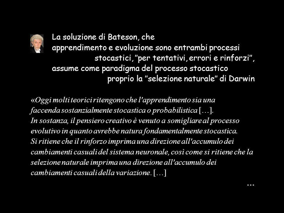 La soluzione di Bateson, che apprendimento e evoluzione sono entrambi processi stocastici, ''per tentativi, errori e rinforzi'', assume come paradigma