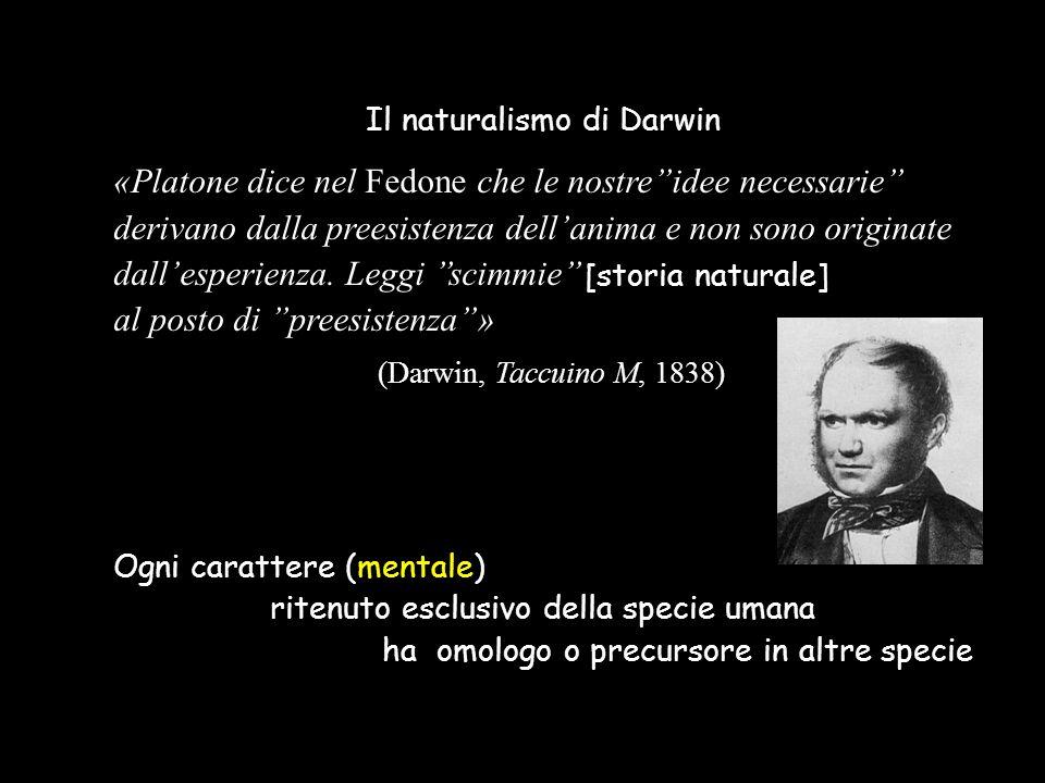 Il naturalismo di Darwin «Platone dice nel Fedone che le nostre''idee necessarie'' derivano dalla preesistenza dell'anima e non sono originate dall'es