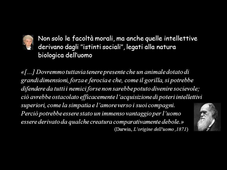 Non solo le facoltà morali, ma anche quelle intellettive derivano dagli ''istinti sociali'', legati alla natura biologica dell'uomo «[…] Dovremmo tutt