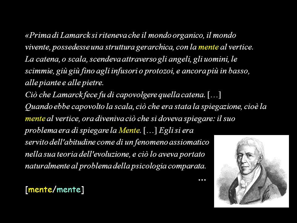 «Prima di Lamarck si riteneva che il mondo organico, il mondo vivente, possedesse una struttura gerarchica, con la mente al vertice. La catena, o scal