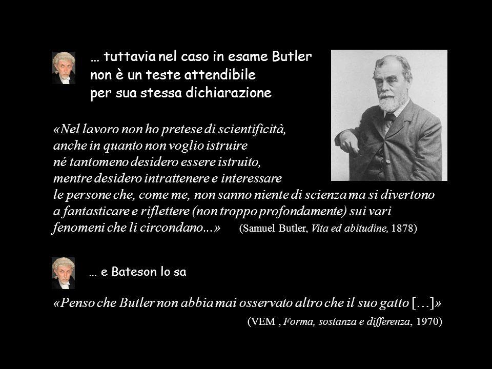 … tuttavia nel caso in esame Butler non è un teste attendibile per sua stessa dichiarazione «Nel lavoro non ho pretese di scientificità, anche in quan