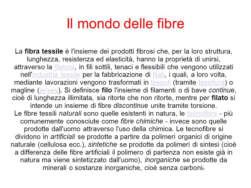 Il mondo delle fibre La fibra tessile è l'insieme dei prodotti fibrosi che, per la loro struttura, lunghezza, resistenza ed elasticità, hanno la propr