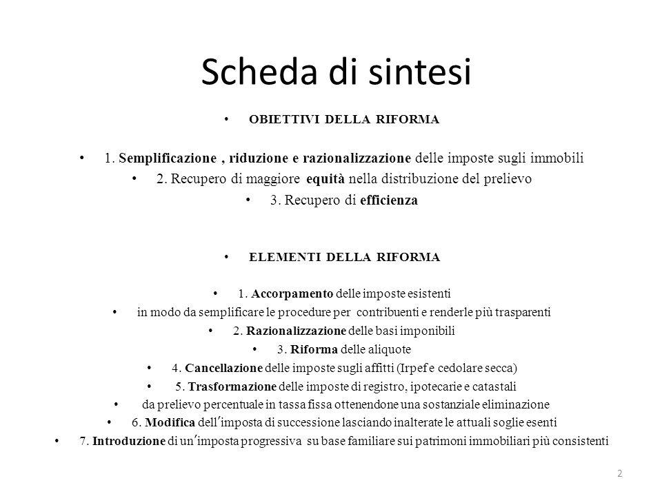 Scheda di sintesi OBIETTIVI DELLA RIFORMA 1.