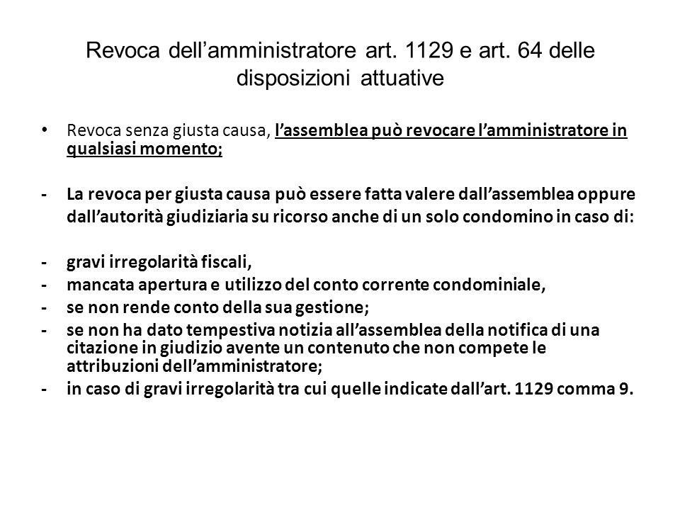 Revoca dell'amministratore art.1129 e art.