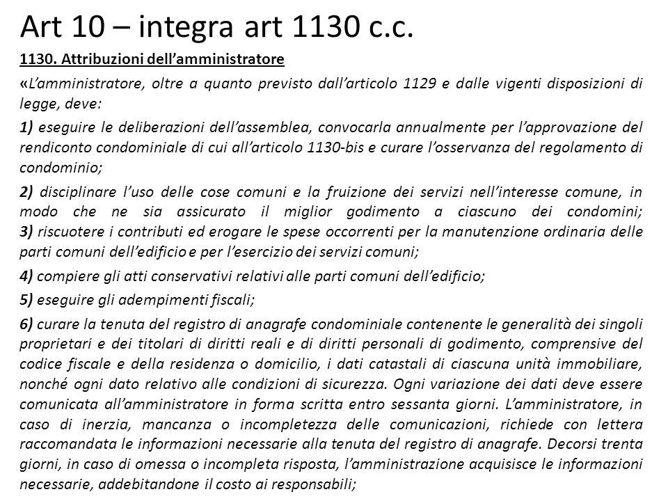 Art 10 – integra art 1130 c.c.1130.
