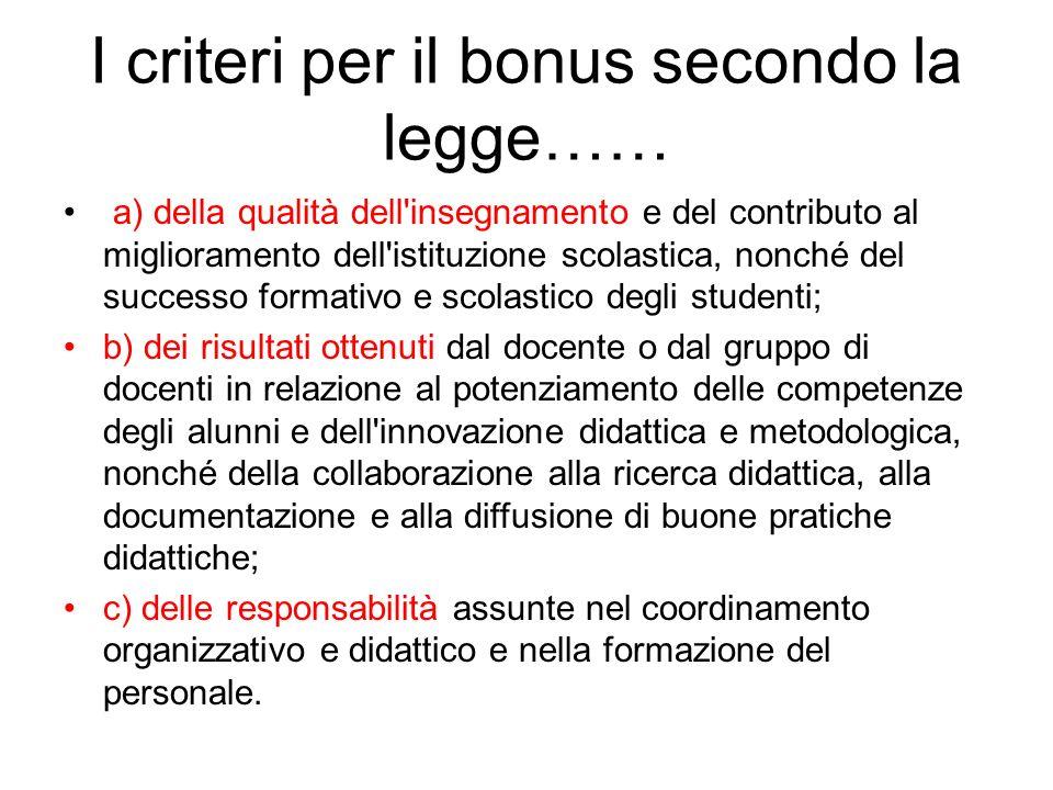 I criteri per il bonus secondo la legge…… a) della qualità dell'insegnamento e del contributo al miglioramento dell'istituzione scolastica, nonché del
