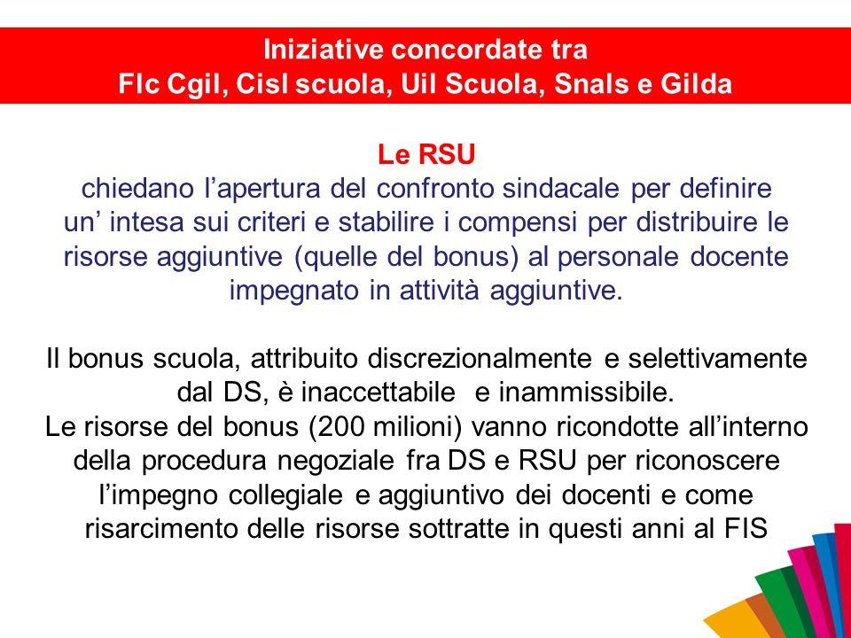 Le RSU chiedano l'apertura del confronto sindacale per definire un' intesa sui criteri e stabilire i compensi per distribuire le risorse aggiuntive (q
