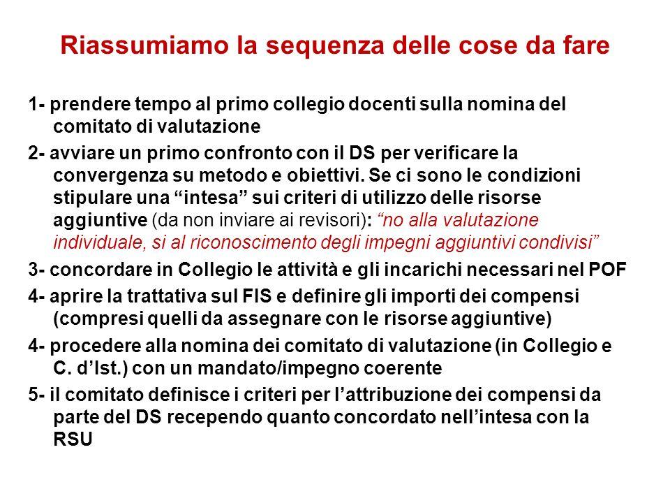 Riassumiamo la sequenza delle cose da fare 1- prendere tempo al primo collegio docenti sulla nomina del comitato di valutazione 2- avviare un primo co