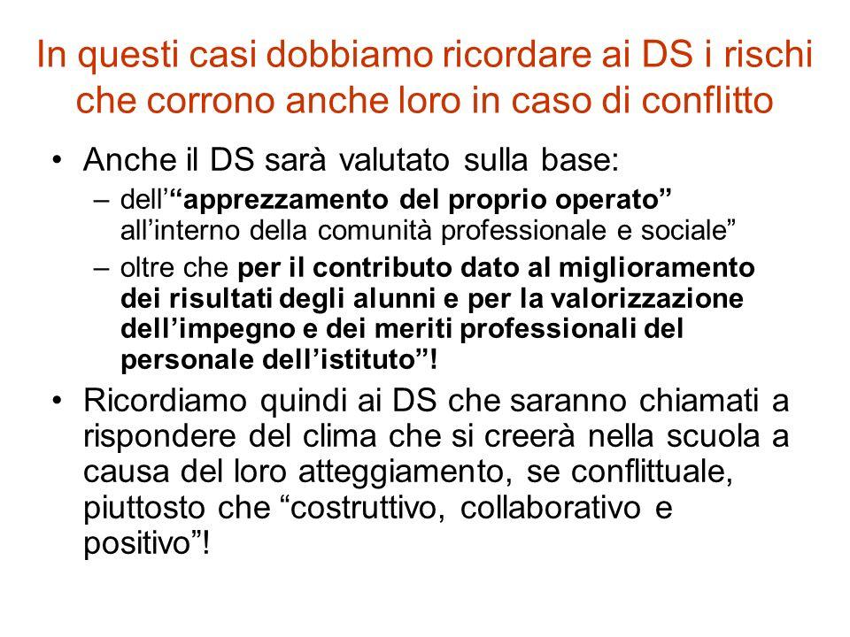 """In questi casi dobbiamo ricordare ai DS i rischi che corrono anche loro in caso di conflitto Anche il DS sarà valutato sulla base: –dell'""""apprezzament"""
