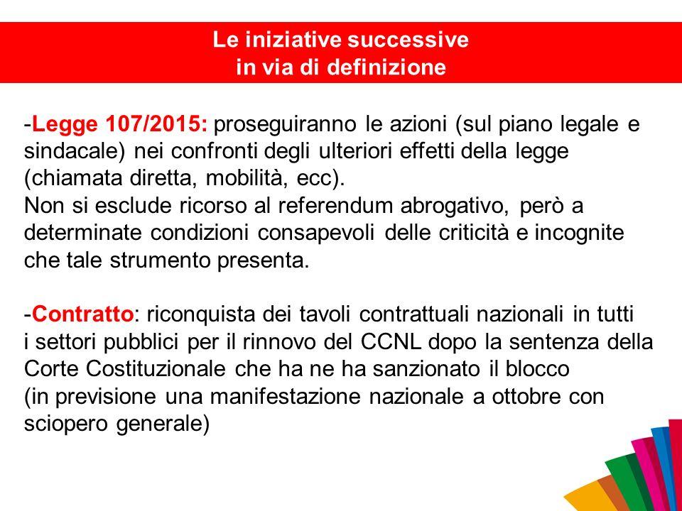 -Legge 107/2015: proseguiranno le azioni (sul piano legale e sindacale) nei confronti degli ulteriori effetti della legge (chiamata diretta, mobilità,