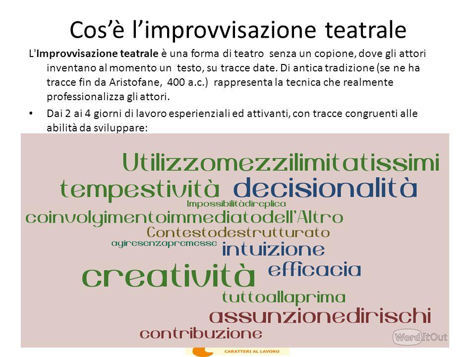 Cos'è l'improvvisazione teatrale L'Improvvisazione teatrale è una forma di teatro senza un copione, dove gli attori inventano al momento un testo, su