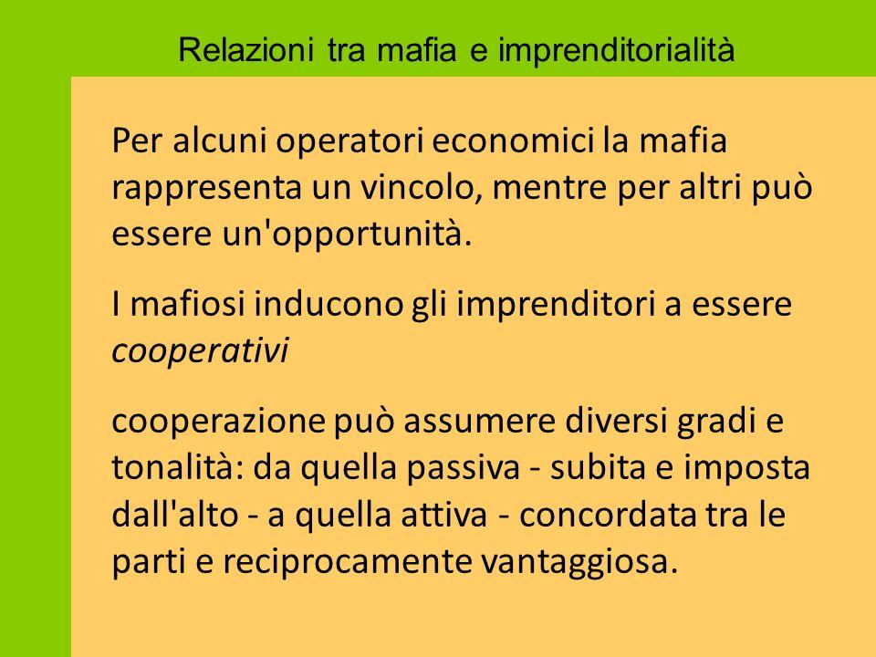 Per alcuni operatori economici la mafia rappresenta un vincolo, mentre per altri può essere un'opportunità. I mafiosi inducono gli imprenditori a esse