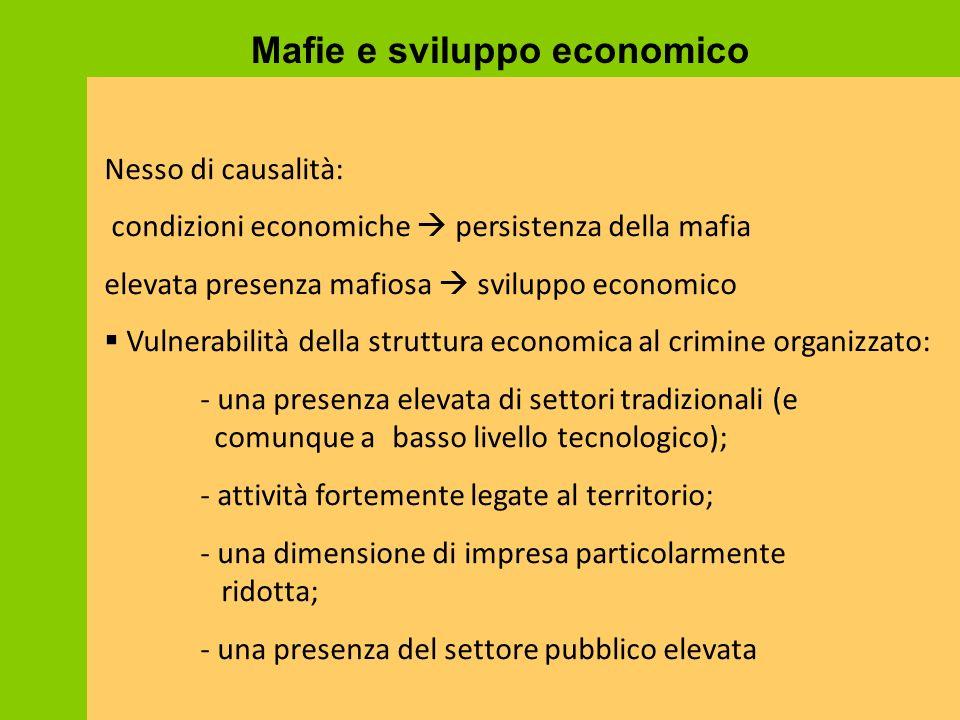 Nesso di causalità: condizioni economiche  persistenza della mafia elevata presenza mafiosa  sviluppo economico  Vulnerabilità della struttura econ