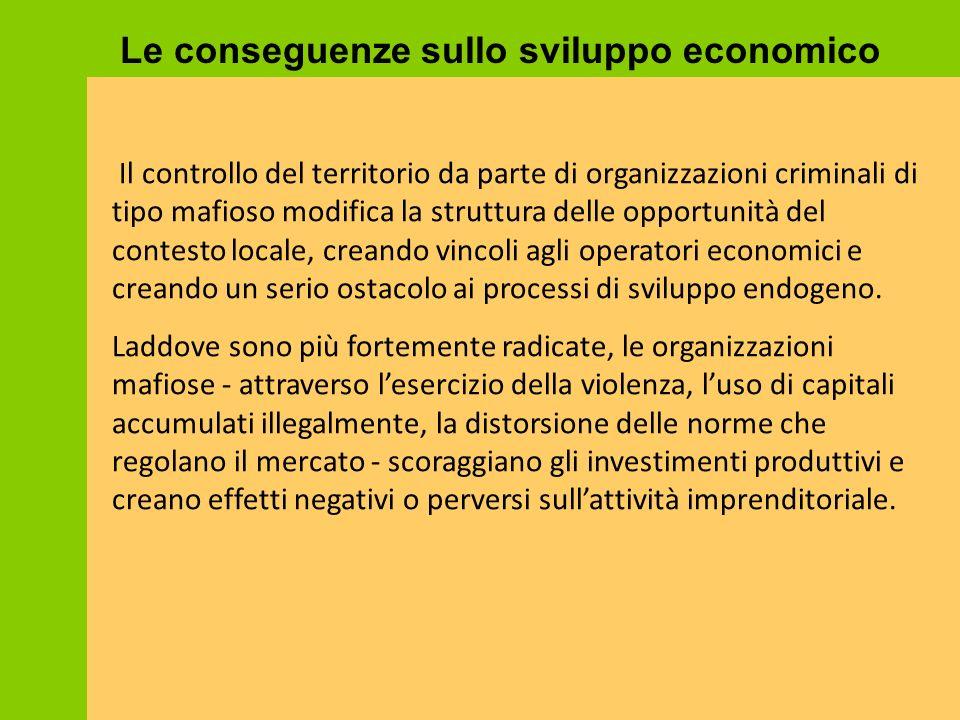 Il controllo del territorio da parte di organizzazioni criminali di tipo mafioso modifica la struttura delle opportunità del contesto locale, creando