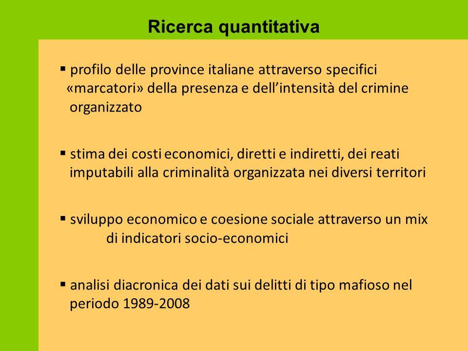Ricerca quantitativa  profilo delle province italiane attraverso specifici «marcatori» della presenza e dell'intensità del crimine organizzato  stim