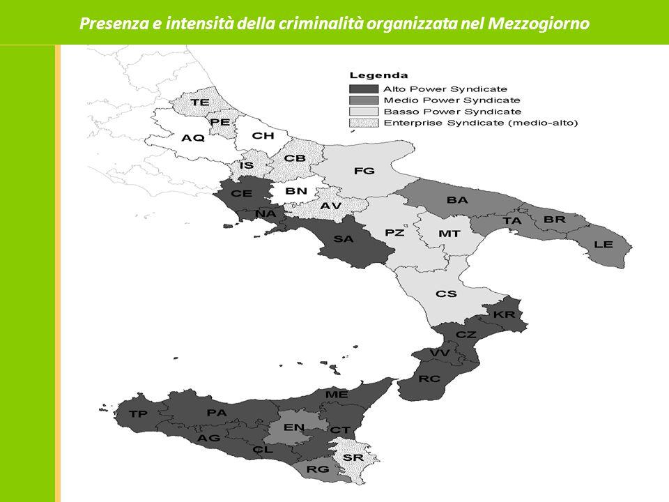 Presenza e intensità della criminalità organizzata nel Mezzogiorno
