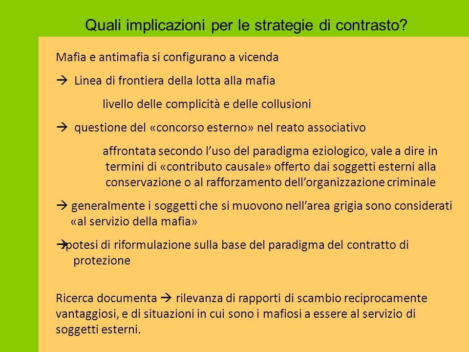 Quali implicazioni per le strategie di contrasto? Mafia e antimafia si configurano a vicenda  Linea di frontiera della lotta alla mafia livello delle