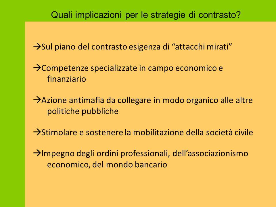 """Quali implicazioni per le strategie di contrasto?  Sul piano del contrasto esigenza di """"attacchi mirati""""  Competenze specializzate in campo economic"""