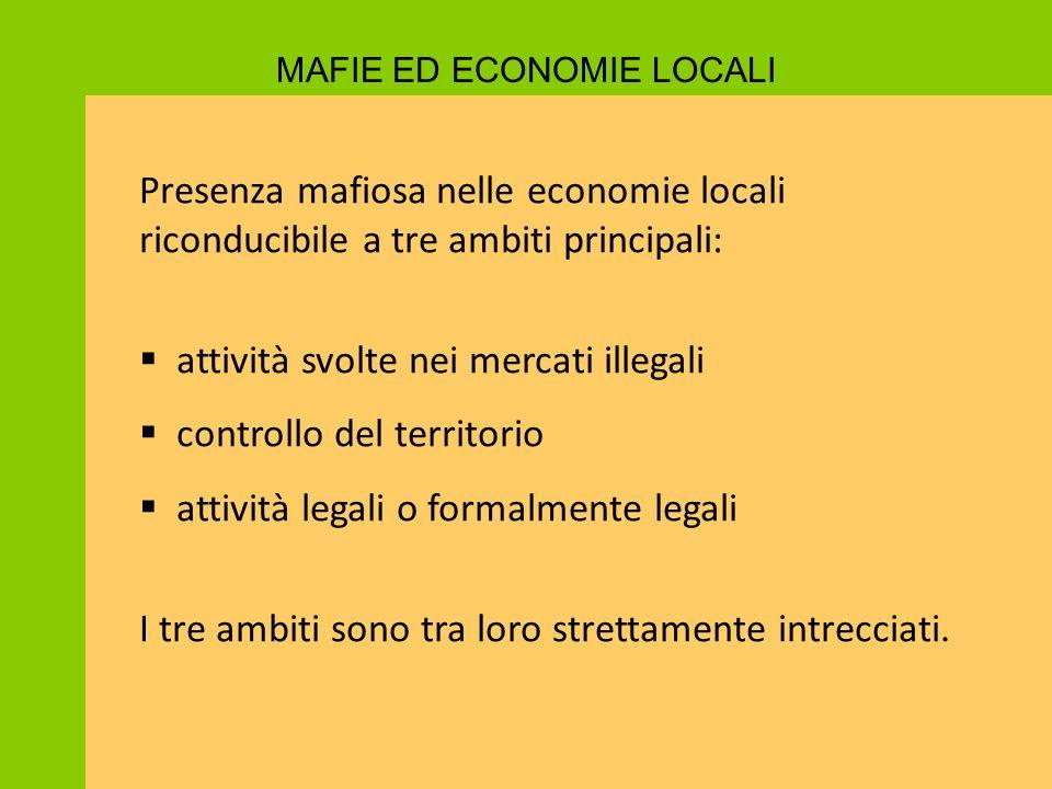 Presenza mafiosa nelle economie locali riconducibile a tre ambiti principali:  attività svolte nei mercati illegali  controllo del territorio  atti