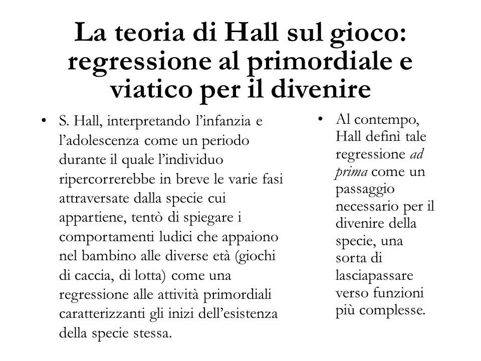 La teoria di Hall sul gioco: regressione al primordiale e viatico per il divenire S. Hall, interpretando l'infanzia e l'adolescenza come un periodo du