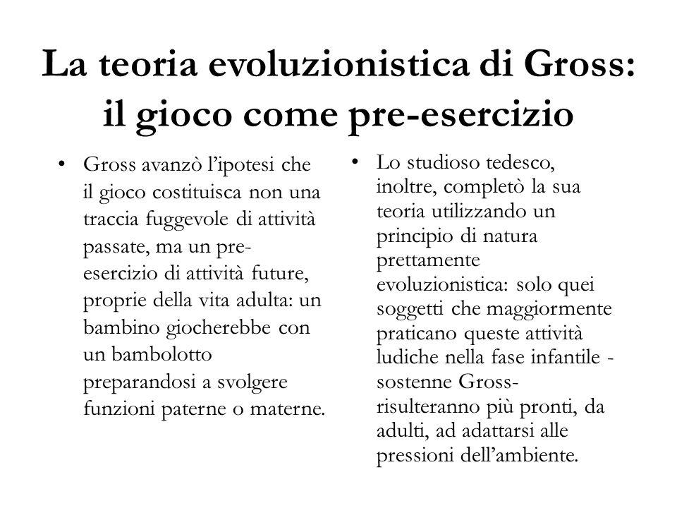 La teoria evoluzionistica di Gross: il gioco come pre-esercizio Gross avanzò l'ipotesi che il gioco costituisca non una traccia fuggevole di attività