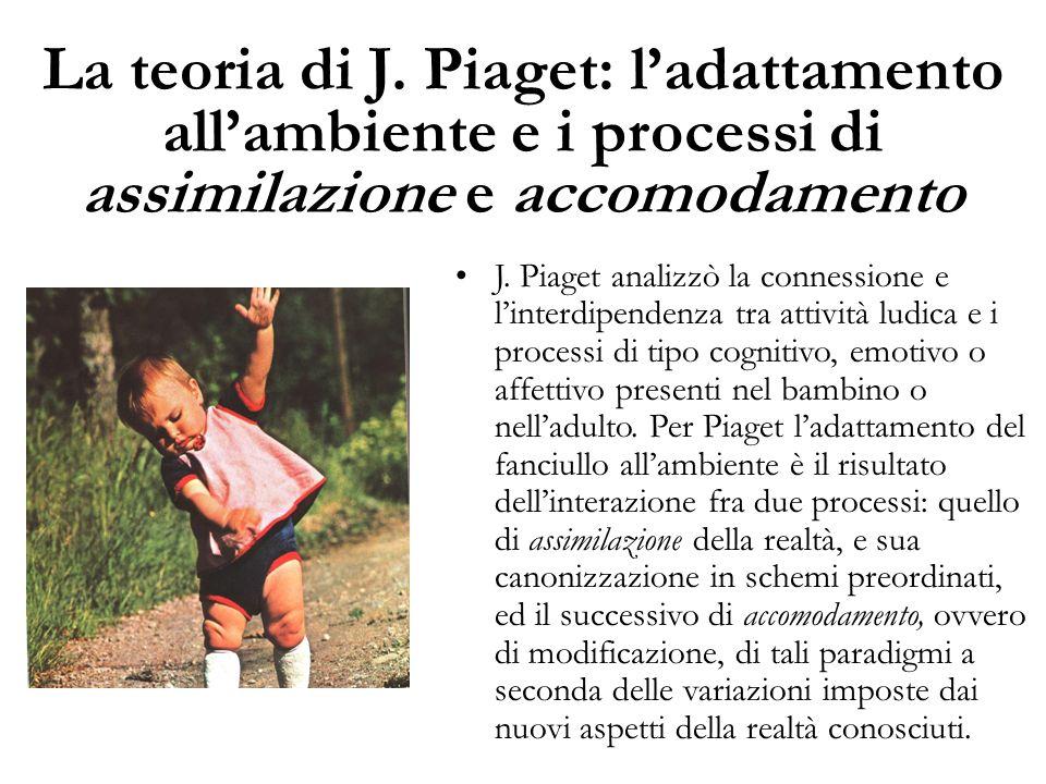 La teoria di J. Piaget: l'adattamento all'ambiente e i processi di assimilazione e accomodamento J. Piaget analizzò la connessione e l'interdipendenza
