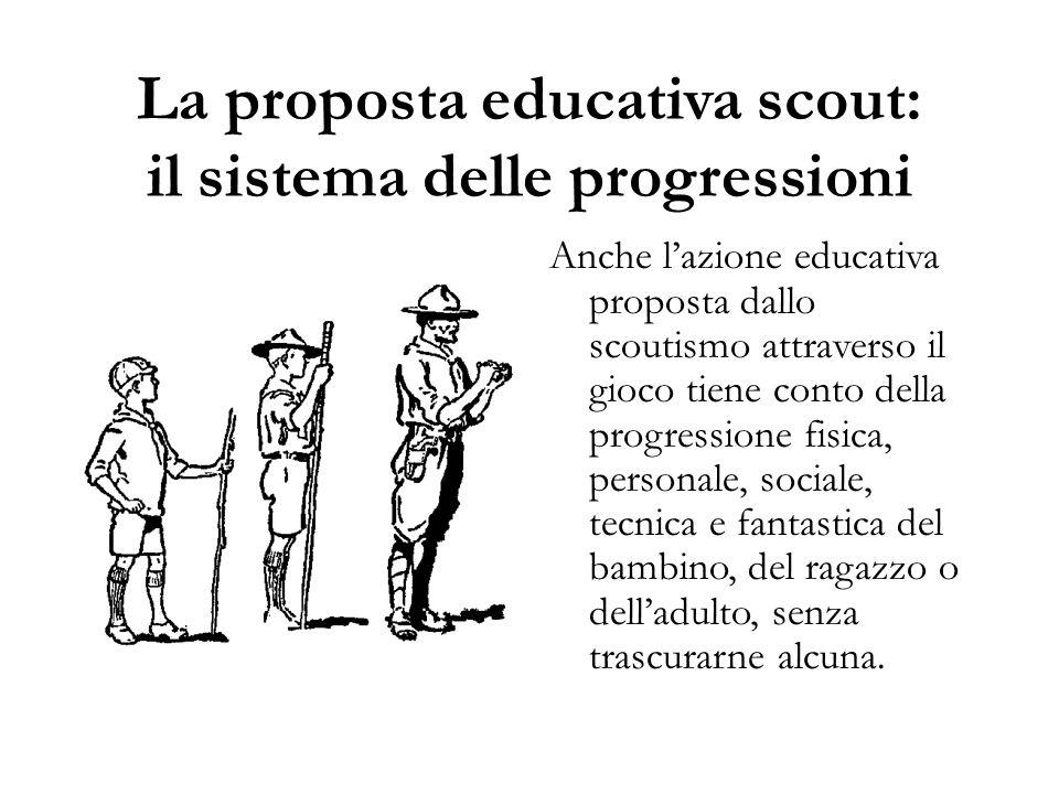 La proposta educativa scout: il sistema delle progressioni Anche l'azione educativa proposta dallo scoutismo attraverso il gioco tiene conto della pro