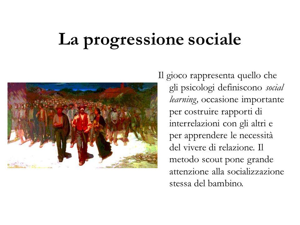 La progressione sociale Il gioco rappresenta quello che gli psicologi definiscono social learning, occasione importante per costruire rapporti di inte