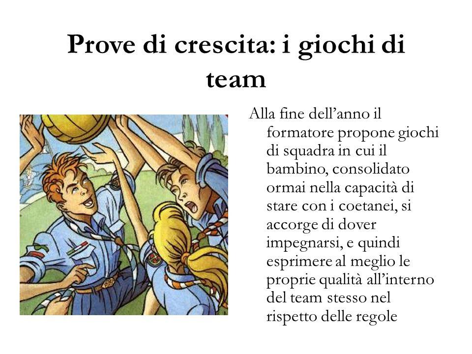 Prove di crescita: i giochi di team Alla fine dell'anno il formatore propone giochi di squadra in cui il bambino, consolidato ormai nella capacità di