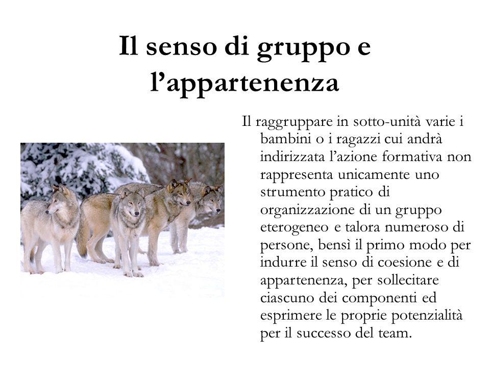 Il senso di gruppo e l'appartenenza Il raggruppare in sotto-unità varie i bambini o i ragazzi cui andrà indirizzata l'azione formativa non rappresenta