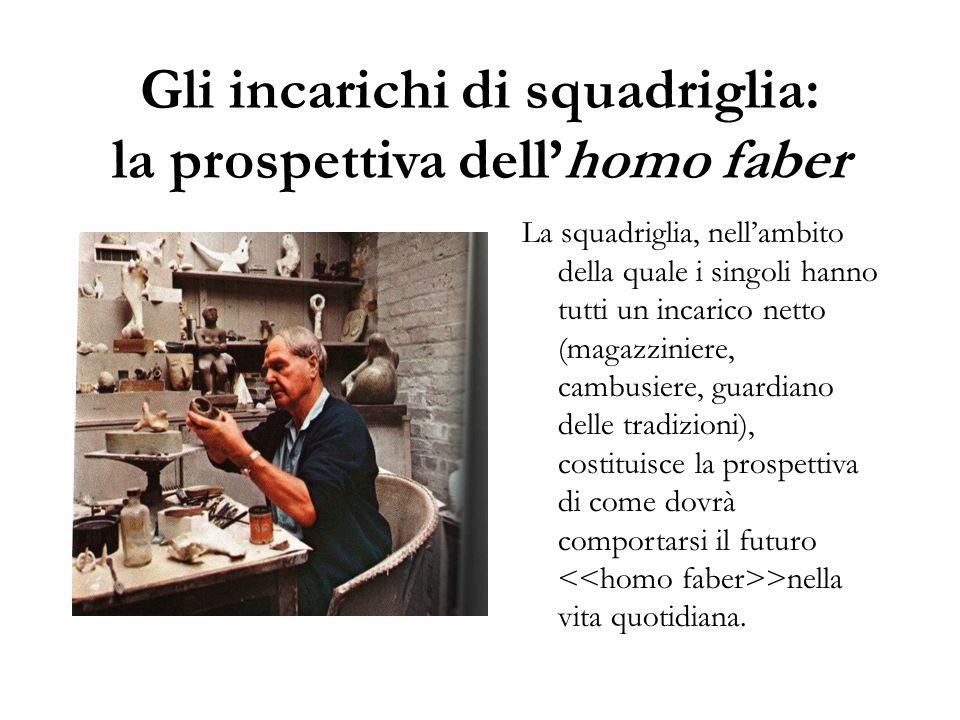 Gli incarichi di squadriglia: la prospettiva dell'homo faber La squadriglia, nell'ambito della quale i singoli hanno tutti un incarico netto (magazzin