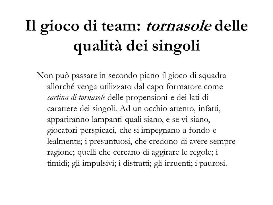 Il gioco di team: tornasole delle qualità dei singoli Non può passare in secondo piano il gioco di squadra allorché venga utilizzato dal capo formator