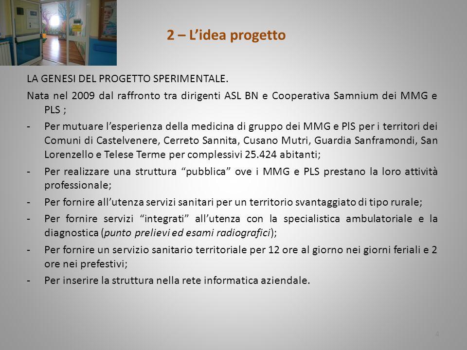 2 – L'idea progetto LA GENESI DEL PROGETTO SPERIMENTALE.