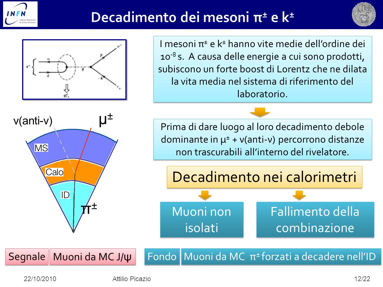 12/22 I mesoni π ± e k ± hanno vite medie dell'ordine dei 10 -8 s. A causa delle energie a cui sono prodotti, subiscono un forte boost di Lorentz che