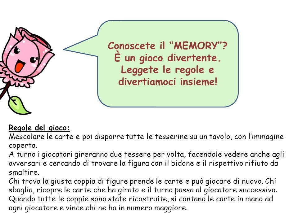Conoscete il ''MEMORY''.È un gioco divertente. Leggete le regole e divertiamoci insieme.