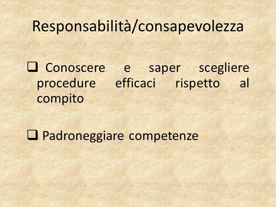 Responsabilità/consapevolezza  Conoscere e saper scegliere procedure efficaci rispetto al compito  Padroneggiare competenze