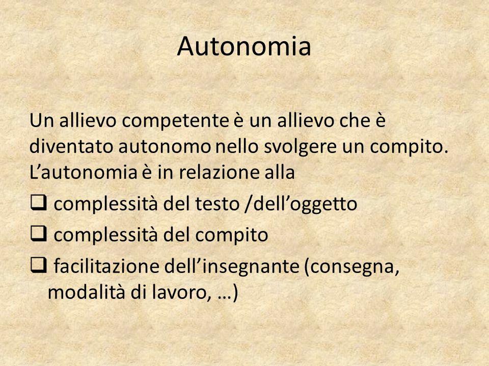 Un allievo competente è un allievo che è diventato autonomo nello svolgere un compito. L'autonomia è in relazione alla  complessità del testo /dell'o