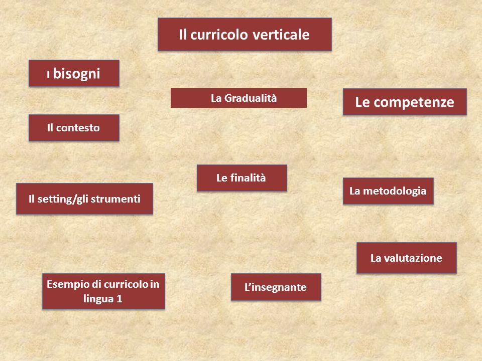 Il curricolo verticale Le competenze Il setting/gli strumenti I bisogni Le finalità La valutazione La metodologia L'insegnante Il contesto Esempio di