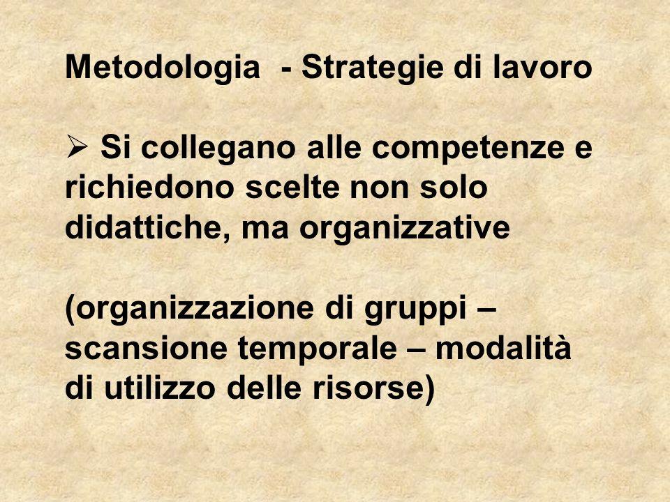 Metodologia - Strategie di lavoro  Si collegano alle competenze e richiedono scelte non solo didattiche, ma organizzative (organizzazione di gruppi –