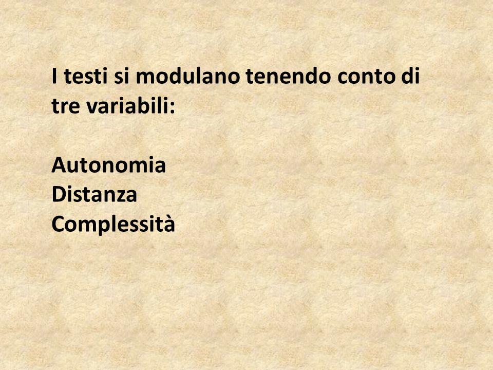 I testi si modulano tenendo conto di tre variabili: Autonomia Distanza Complessità